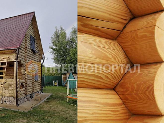 Пескоструйная обработка деревянного дома в деревне Лукьяново