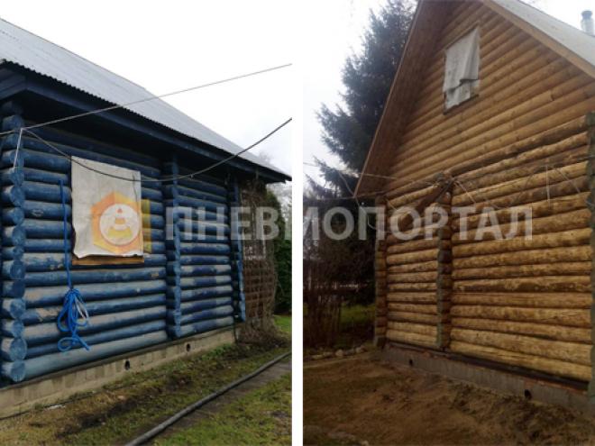 Пескоструйная очистка деревянного дома с выездом в поселок Дубки