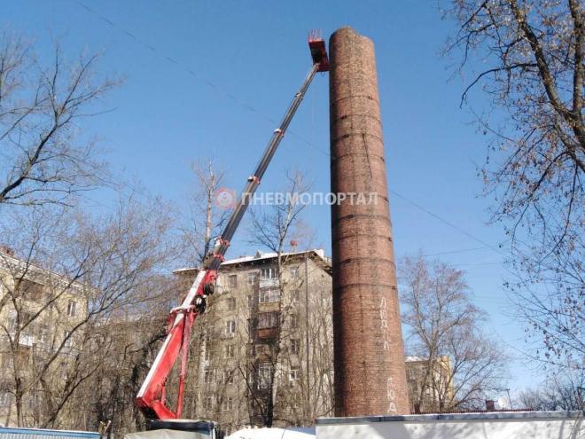 Демонтаж кирпичной трубы в г. Москва, ул. Проспект Мира