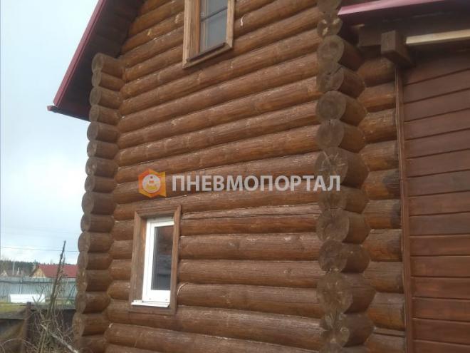 Шлифовка сруба с помощью пескоструйной очистки в Новой Москве, д. Руднево