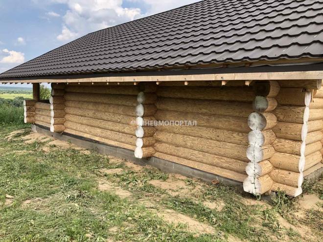 Пескоструйная шлифовка деревянного сруба в Луховицком районе, д. Ганькино